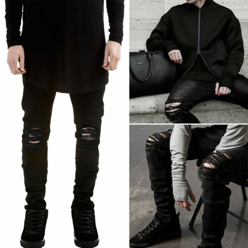 Купить Unbranded - US Men's Distressed Ripped Jeans Moto Black Denim Pants Slim Skinny Fit Trousers
