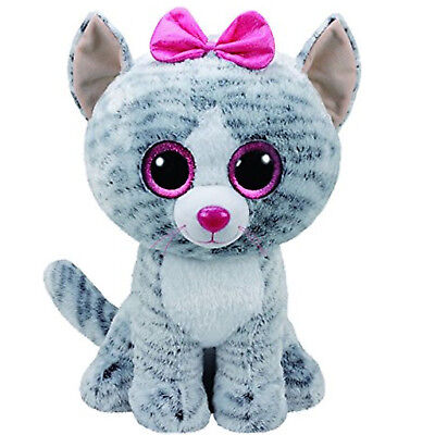 Soft toy TY BEANIE BOOS KIKI kitten grey 11in CAT GIFT IDEA