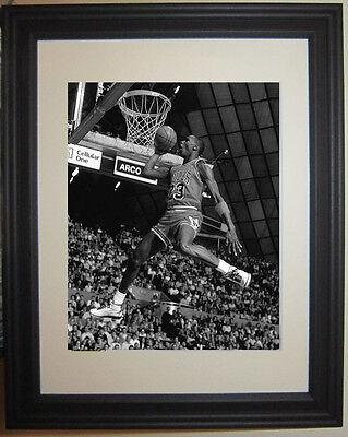 Michael Jordan Slam Dunk Contest Basketball B&W Framed Photo (Basketball Slam Dunk Pictures)