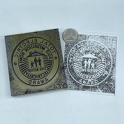 Vtg Total Electric Gold Medallion Award Letterpress Block Print Stamp 3.5 X 3