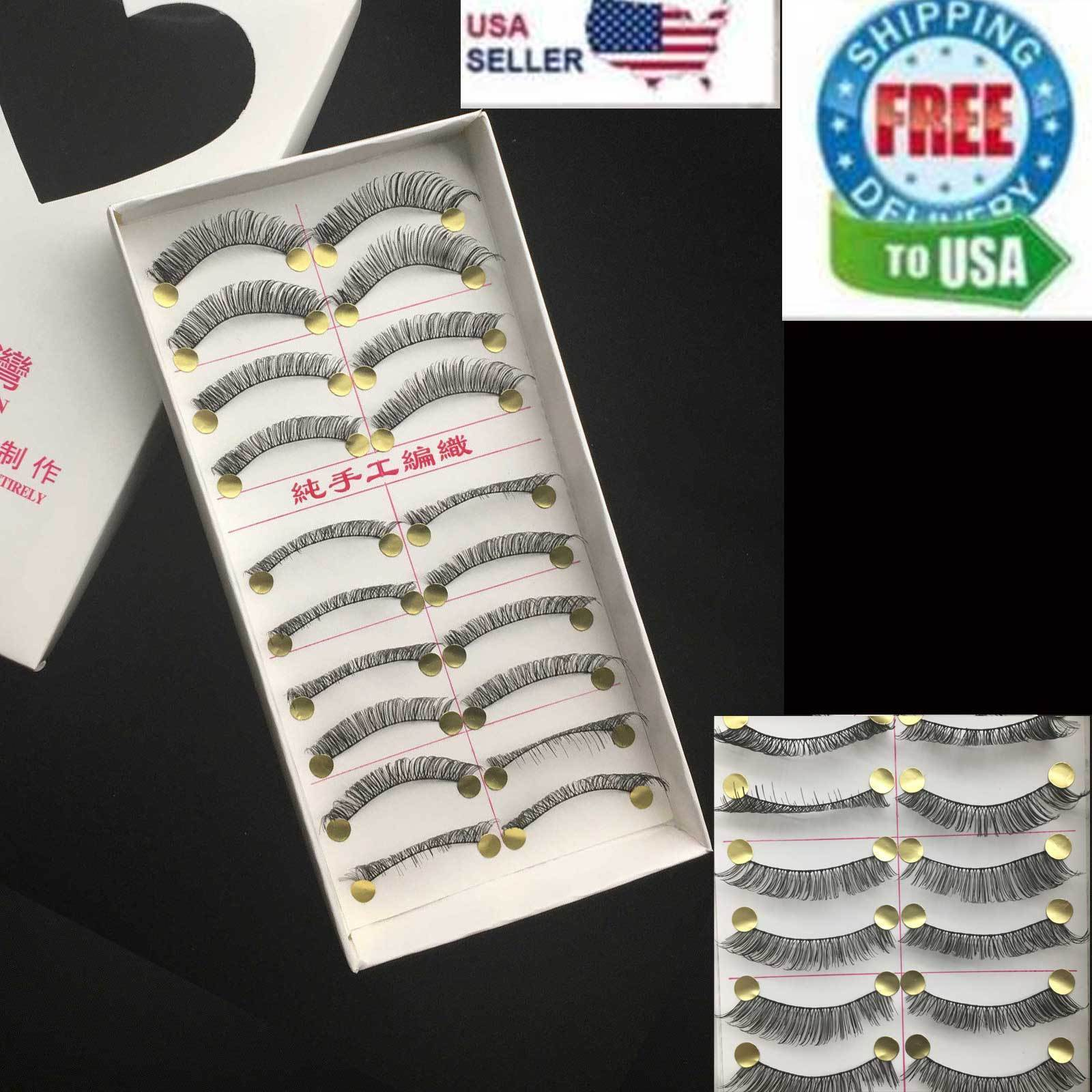 10 Pairs False Eyelashes Natural Long Eye Lashes Handmade Thick BLACK Makeup 504 Eyes