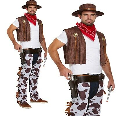 ADULT Plus Size Cowboy Outfit Fancy Dress Costume Stag Party Rodeo Wild West