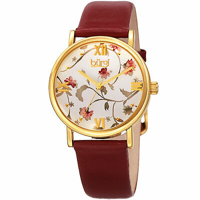 Women's Burgi BUR186RD Null Floral Print Gold Tone Red Leather Strap Watch