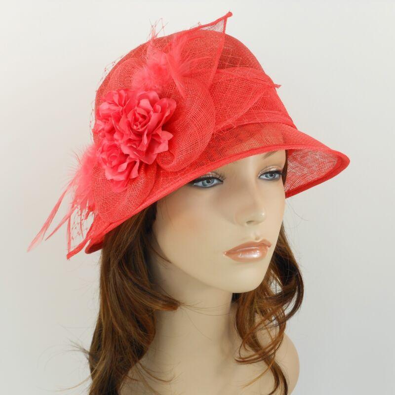New Woman Church Derby Wedding Sinamay  Ascot Cloche Dress Hat 2471 Coral