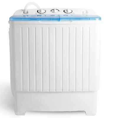 Top Load Compact 17.6 lbs Washing Machine Laundry Twin Tub Washer Spinner Dryer