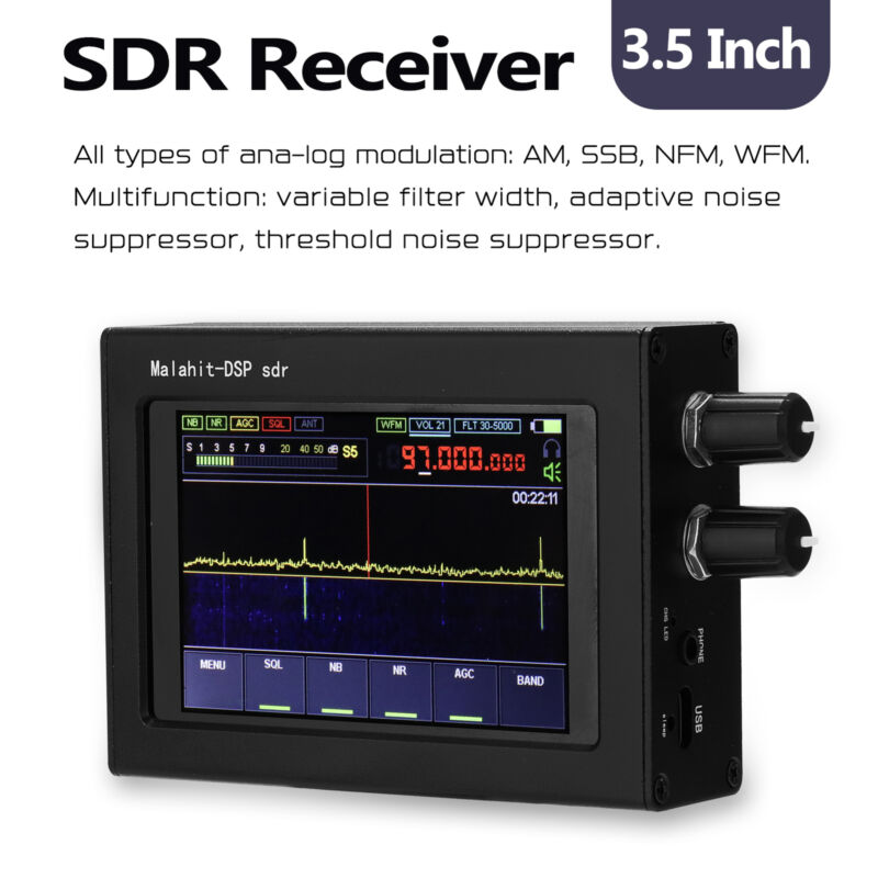 50K-2GHz Register  Malachite SDR Radio Malahit DSP SDR Receiver + LCD + Battery