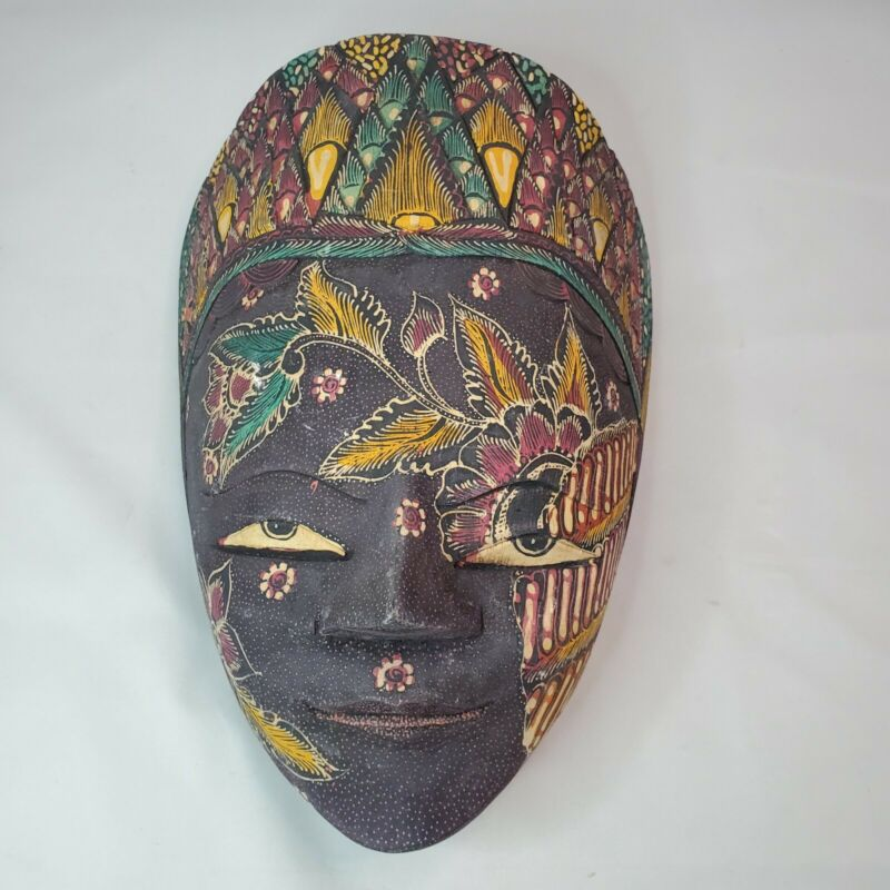 Hand Carved & Painted Topeng Batik Panji Wall Decor Wood Mask Made in Indonesia