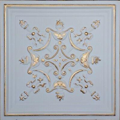 Ceiling tiles faux tin white gold cafe bar saloon decor ceiling panel 10tile/lot