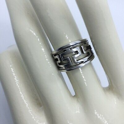 GREEK KEY VERSACE STYLE STERLING SILVER RING