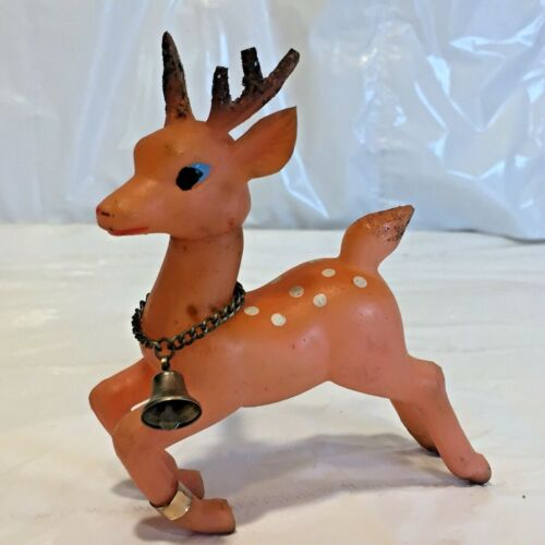 """Vtg MCM Xmas PINK Soft Rubber Plastic Movable Head Reindeer w Bell Japan 4"""" Tall"""