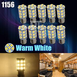 10X Warm White 27 SMD LED 1156 1141 1003 RV Camper Trailer Interior Light Bulbs