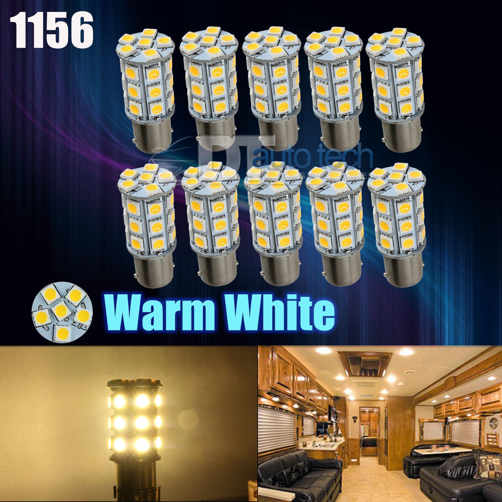 Rv Interior Led Light Bulbs: 10X Warm White 27 SMD LED 1156 1141 1003 RV Camper Trailer Interior Light  Bulbs,Lighting