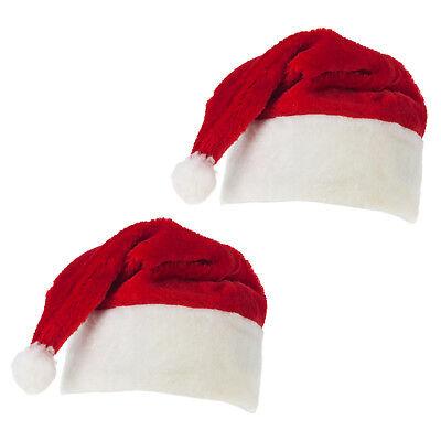 2x Weihnachtsmannmütze Plüschmütze Nikolaus Kostüm Weihnachtsfeier Karneval