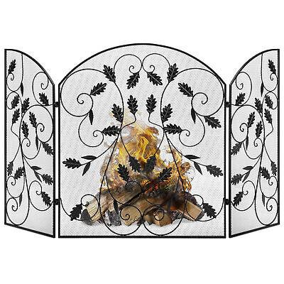 BCP 3-Panel 50x30in Steel Fireplace Screen w/ Rustic Finish, Leaf