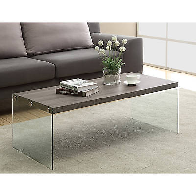 Glass And Wood Coffee Table Reclaimed Look Furniture Cocktail Living Room Modern ()