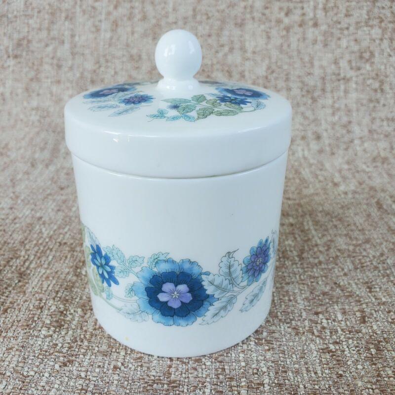 WEDGEWOOD Clementine Trinket Box Jar Lid Bone China Blue Flowers Made in England