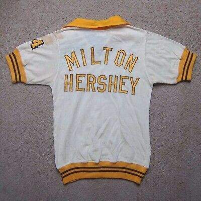 1940s Men's Shirts, Sweaters, Vests Vintage 1940's Milton Hershey Rugby Jersey Wilson Sporting Goods 100% Wool Sz S $100.00 AT vintagedancer.com