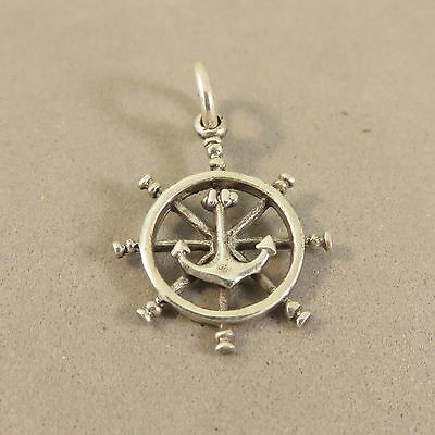 .925 Sterling Silver 3-D CAPTAINS WHEEL WITH ANCHOR CHARM NEW Pendant 925 NT79 Captains Wheel Charm