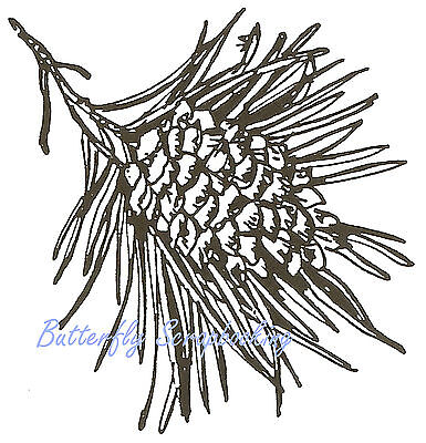Single Pine Cone Branch PINECONE Wood Mounted Rubber Stamp NORTHWOODS E1934 New