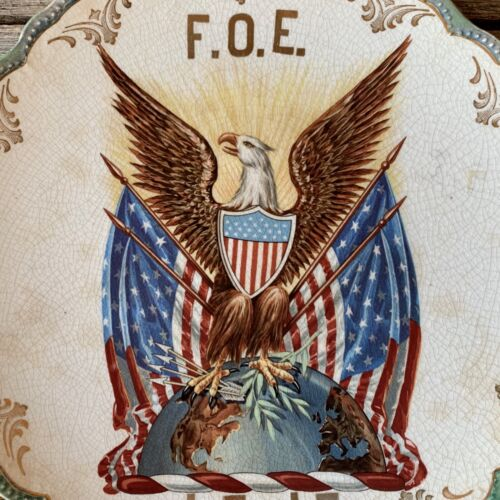 Rare 1900s FRATERNAL ORDER OF EAGLES Collectible Souvenir Plate W.D. Wade & CO