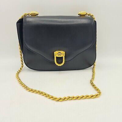 Vintage GUCCI Black Leather Shoulder Bag Gold Tone Chain