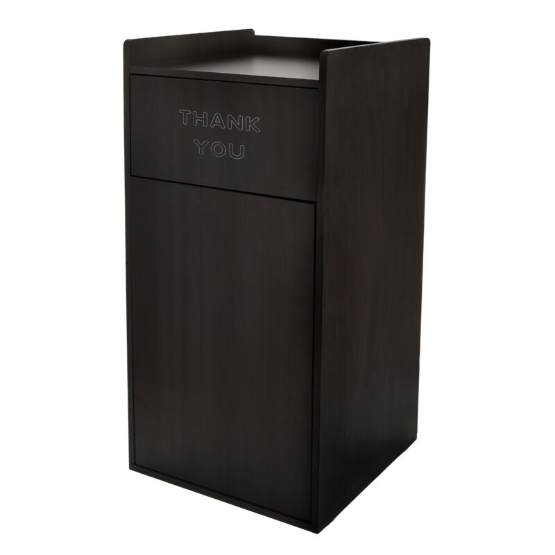 Alpine Industries Black Wooden Waste Bin Receptacle 40 Gallon Trash Can