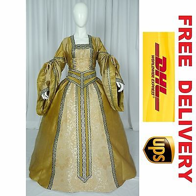 MEDIEVAL RENAISSANCE TUDOR WEDDING HANDFASTING LARP GOWN DRESS COSTUME (18D)