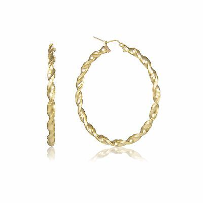 10K Yellow Gold Round Twisted Hoop Earrings 4mm 30-90mm - Swirl Twist Women (10k Earrings Twisted Hoop)