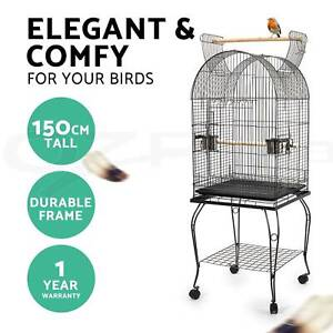 Bird Cage Parrot Aviary Pet Stand-alone Budgie Perch Castor Wheel