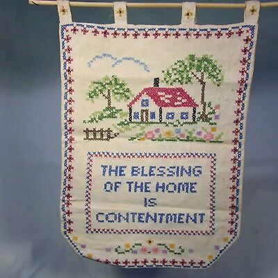 - Vintage The Blessing of the Home is Contentment Cross Stitch Sampler Hanging 16