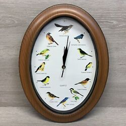 Bird Clock Oval Shape Battery Operated Bird Sounds On The Hour WORKING Faux Wood