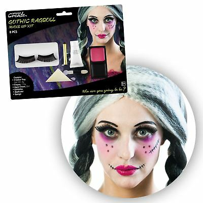 Ladies Rag Doll SFX Makeup Accessory Kit Eyelashes Facepaint Halloween Broken (Halloween Rag Doll Face Paint)