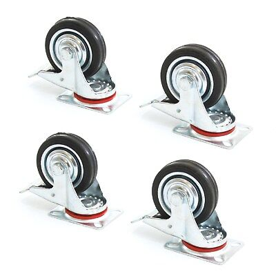 4 Heavy Duty Caster Set 3 Wheels All Swivel Rear Brake Casters Non Skid No Mark