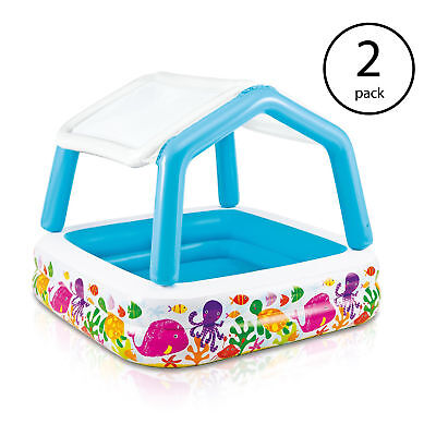 Intex Inflatable Ocean Scene Sun Shade Kids Pool With Canopy | 57470EP (2 Pack)