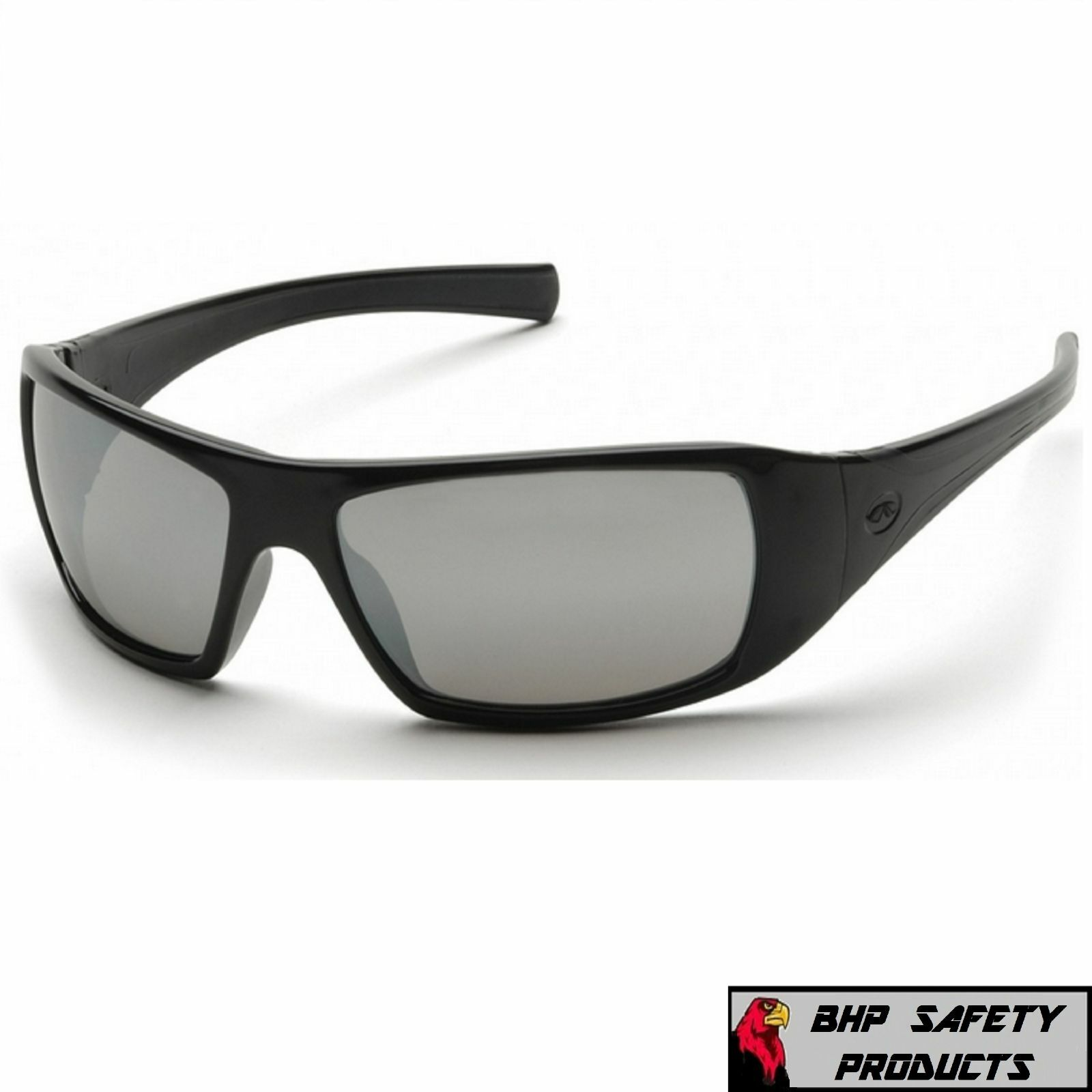 PYRAMEX GOLIATH SAFETY GLASSES MOTORCYCLE SPORT WORK SUNGLASSES Z87+ (1 PAIR) Silver Mirror Lens/ Black Frame SB5670D
