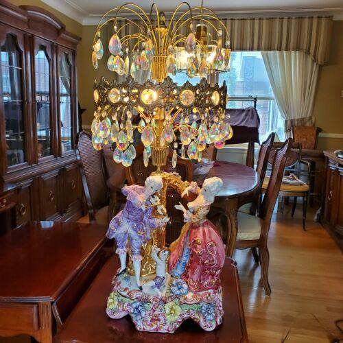 "36"" Figural Porcelain Swarovski Crystal Table Lamp-Capodimonte? C GIM 1307 1968"