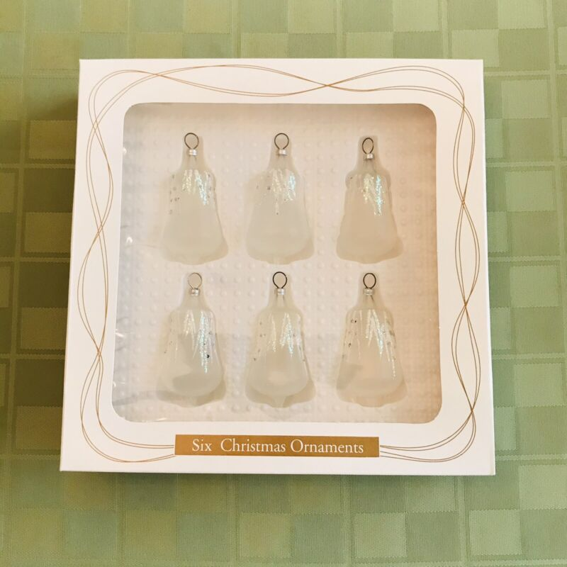 Bradford Christmas Bell Ornaments 6 Frosted Glitter Bells In Box Dayton 1997