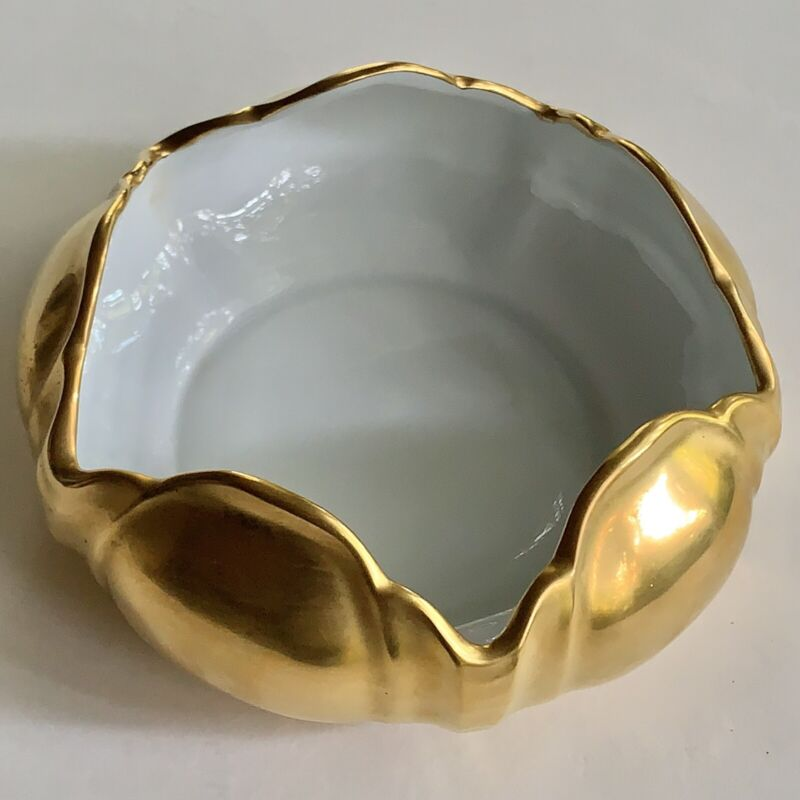 Vintage Pickard China Porcelain Tulip Bowl Dish, 24K Gold, Handcrafted in USA