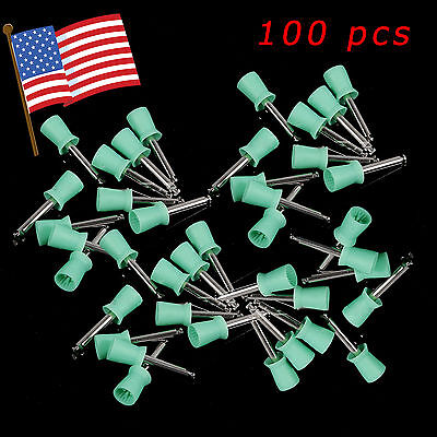 100pcs Usa Hot Dental New Latch Type Polishing Polisher Prophy Cups Rubber Green