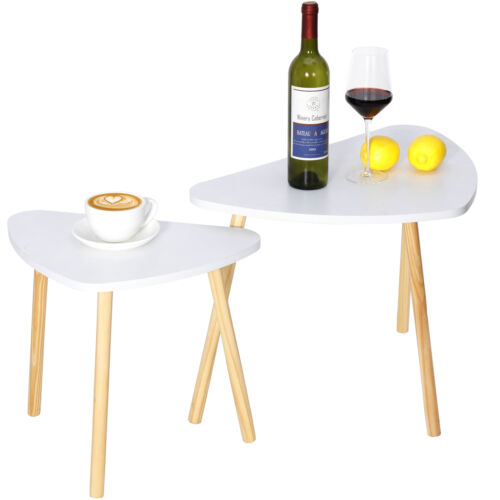 White Nesting Coffee End Tables Modern Decor Side Table for Home and Office 2pcs Furniture