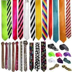 New-Mens-Slim-Skinny-Solid-Color-Plain-Stripe-Satin-Tie-Necktie-Check-Novelty