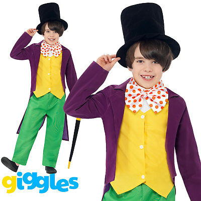 Willy Wonka Boy Chocolate Factory Costume World Book Day Week Fancy Dress Outfit ()