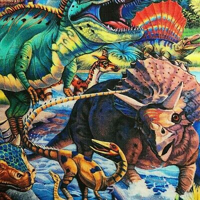 Dinosaurs All Over 100% Quilting Cotton Fabric Dino matches Panel All Cotton Quilts
