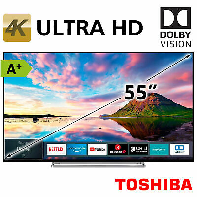 """Fernseher A+ Toshiba 55"""" 4K Ultra HD Smart TV LED HDR HDR10 HLG WLAN 139cm 2xUSB"""