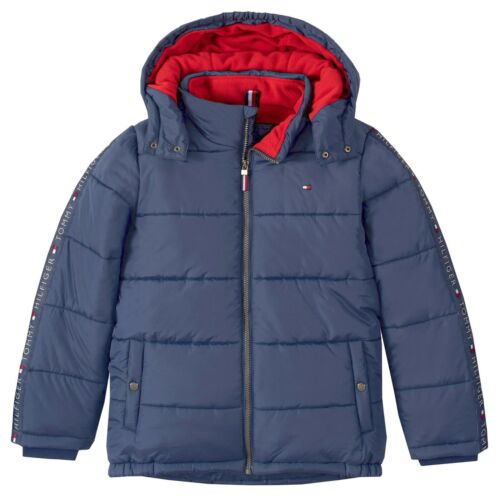 NEW! Tommy Hilfiger Boys Detachable Hooded Puffer Jacket, Fleece Lined, M 10/12
