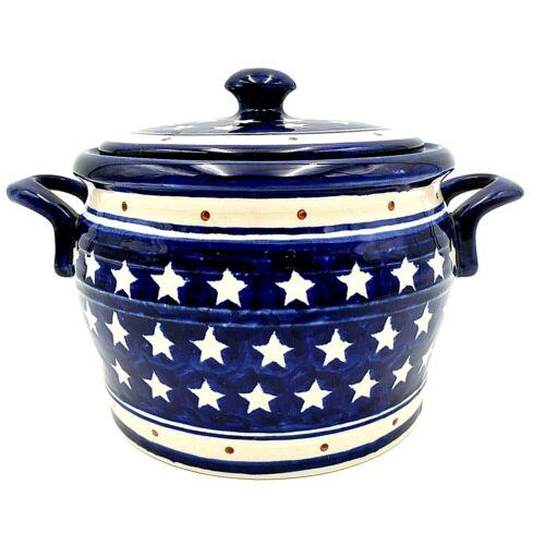 Polish Pottery Boleslawiec Casserole Pot Crock with Lid White Stars Blue Red