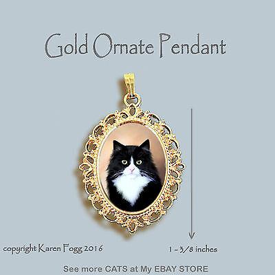 Black And Gold Tuxedo (TUXEDO LONGHAIR CAT Black and White - ORNATE GOLD PENDANT)