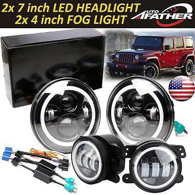 "2x CREE 7"" LED Headlights Angle Eyes+2x 4"" LED Fog Lamp For 97-15 Jeep Wrangler"