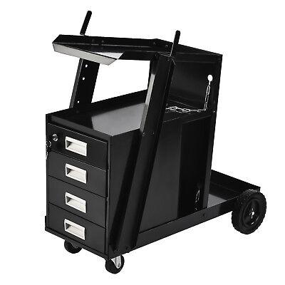 4 Drawer Cabinet Welding Cart Mig Arc Tig Plasma Cutter Tank Universal Storage