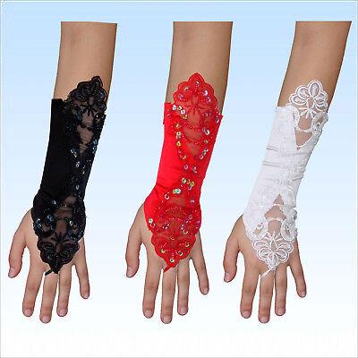 Brauthandschuhe Nele gemustert Satin Fingerlos Handschuhe  weiß, rot, schwarz (Rote Satin Handschuhe)